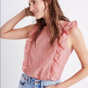 Madewell Bellflower Ruffle Top in Red XXS